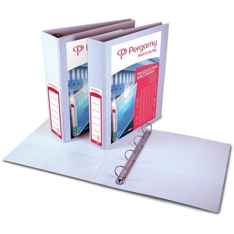 PERGAMY Classeur personnalisable A4+ 2 faces, 4 anneaux Ø20 mm en D, dos 3,8 cm. En PP Blanc.150 feuilles