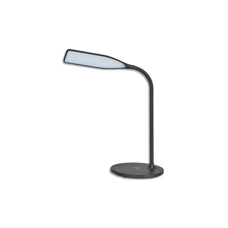 ALBA Lampe Led Smart Noir en ABS. Tête L24 cm, bras H35 cm, socle D17 cm