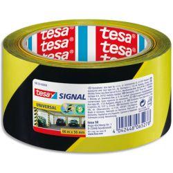 TESA Ruban adhésif Signal Universal Noir et Jaune, polypropylène, pour marquage, 52 microns, 66 m x 50 mm