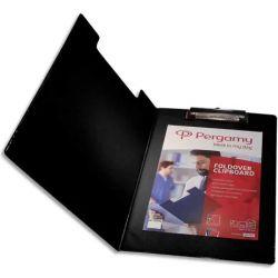 PERGAMY Porte Bloc avec rabat en PVC pour documents format A4+, Noir - Dimensions L23,3xH34cm