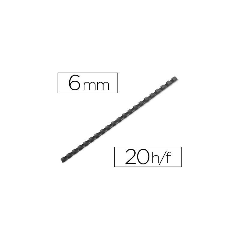 Anneau plastique à relier q-connect capacité 20f 6mm diamètre coloris noir boîte 100 unités