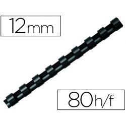 Anneau plastique à relier q-connect capacité 80f 12mm diamètre coloris noir boîte 100 unités.