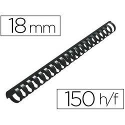 Anneau plastique à relier q-connect capacité 150f 18mm diamètre coloris noir boîte 50 unités