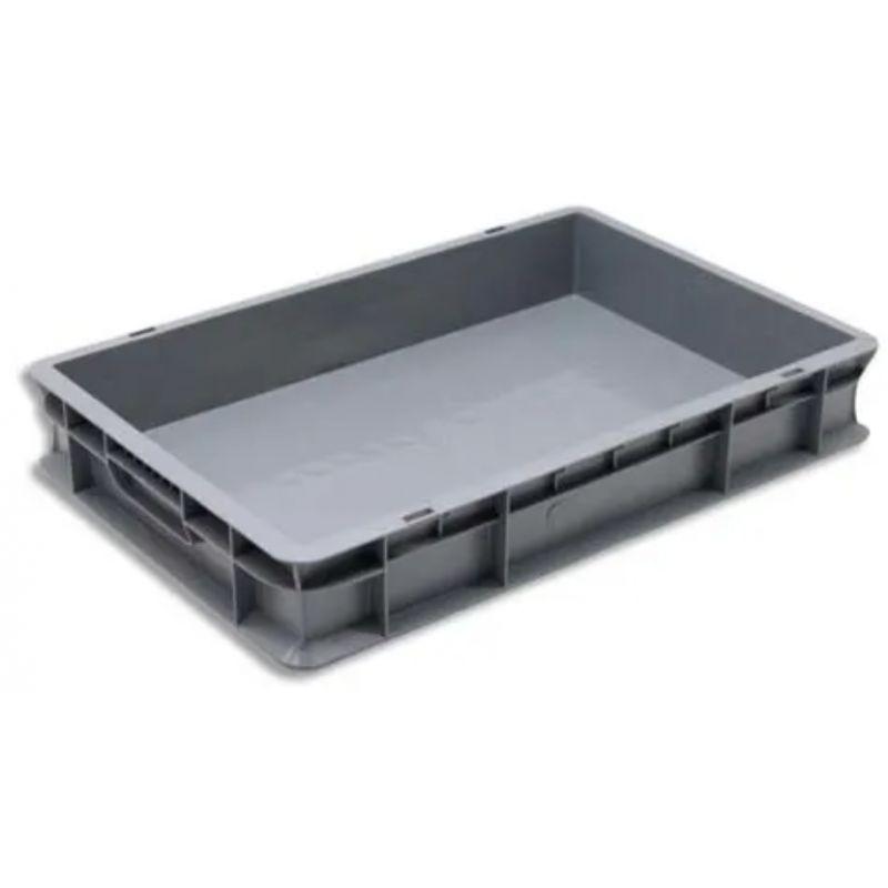 VISO Bac de rangement Gris en polypropylène, gerbable, charge 20 kg - Dimensions : L60 x l40 x H10 cm
