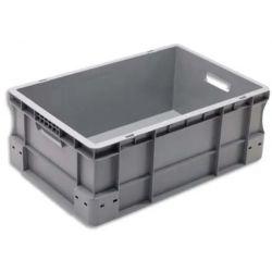 VISO Bac de rangement Gris en polypropylène, gerbable, charge 30 kg - Dimensions : L60 x l40 x H23 cm