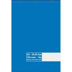 Bloc 60g agrafé en tête 200 pages petits carreaux 5x5 grand format A4 21 x 29,7 cm