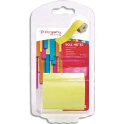 PERGAMY Rouleau de notes repositionnables sur dévidoir jetable. Dimensions : 5cm x 10m. Coloris Jaune