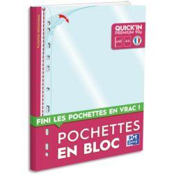 OXFORD Bloc de 40 pochettes perforées Quick' In A4 en polypropylène 9/100e lisse incolore
