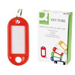 Porte-clés q-connect porte-étiquette plastique 50x22mm coloris rouge présentoir 100 unités.