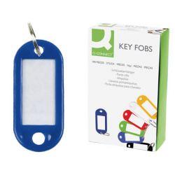 Porte-clés q-connect porte-étiquette plastique 50x22mm coloris bleu présentoir 100 unités.