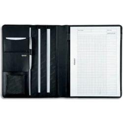 JUSCHA Conférencier Noir Cremona cuir. 32x25x2cm. Livré bloc-notes et pochettes multiples