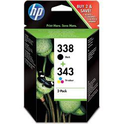 HP Combo Pack 338/343 Jet d'encre Noir et Couleur SD449EE