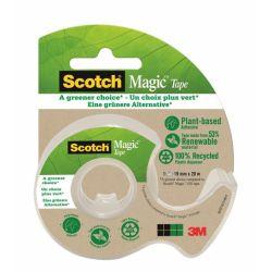 SCOTCH Dévidoir à main transparent en plastique recyclé 90% avec rouleau Magic recyclé 19mm x 20m