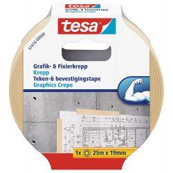 TESA Ruban adhésif papier Krepp spécial arts graphiques 19 mm x 25 m