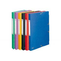 ELBA Boîte de classement BOSTON à élastiques en carte lustrée 7/10e, 600g. Dos 2,5 cm. Coloris assortis