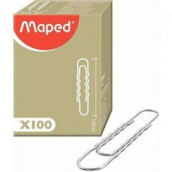 MAPED Boîte de 100 trombones ondulés bout rond 77mm