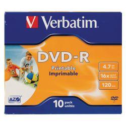 VERBATIM Pack de 10 boîtiers cristal DVD-R imprimables 4,7Go 16x 43521
