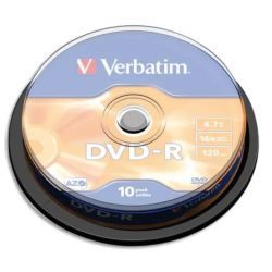 VERBATIM Pack de 10 DVD-R 4,7Go 16x