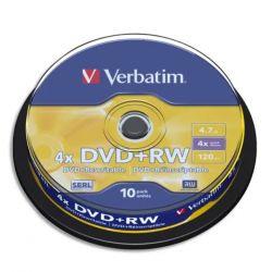 VERBATIM Tour de 10 DVD+RW 4,7GB vitesse d'écriture 10x