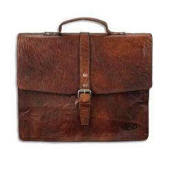 PRIDE AND SOUL Serviette Jayden 2 compartiments + 2 poches Marron en cuir