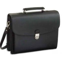 ALASSIO Serviette Deluxe Noire en simili cuir