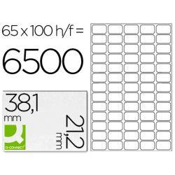 Étiquette adhésive q-connect 38.1x21.2mm coins arrondis imprimante jet d'encre laser copieur 100 feuilles 6500 unités