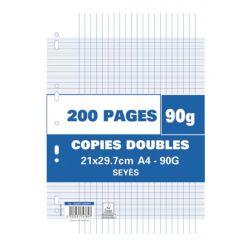 Sachet de 200 pages copies doubles grand format A4 grands carreaux